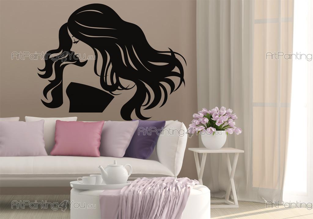 Stickers muraux silhouettes salon de coiffure 2469fr - Stickers muraux salon ...