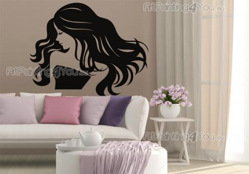 Silhouettes Wall Stickers - Embellish your hair salon with our wall decals. Apply on a lonely wall this bust of a young woman with a hairdo consisting of large, wavy hair that th...