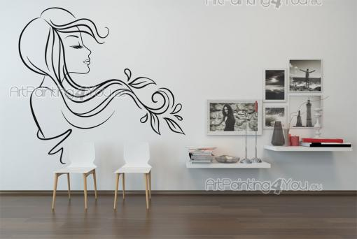 Silhouettes Wall Stickers - Ready to change someone's look? Go for our wall decals with beauty salons in mind. The sticker above of a young lady with her hair flowing in the wind...