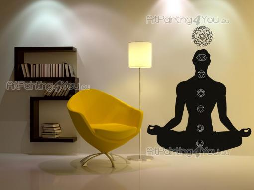 Silhouettes Wall Stickers - Wall decals for your Spa, yoga classroom or living room. This sticker features a yogi meditating in the lotus posture and achieving the alignment of t...