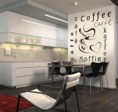 Kitchen Wall Stickers - Wall stickers on the theme of quotes and words. This one is great the decoration of a restaurant, coffeehouse or kitchen and its contains a cup of cof...