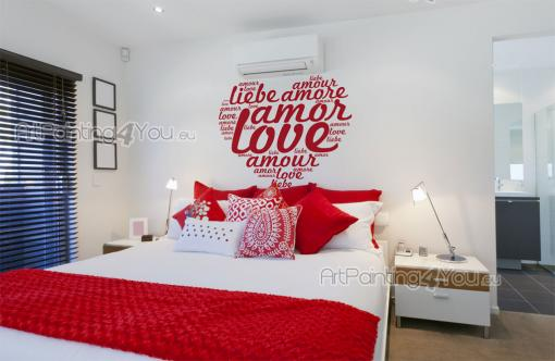 Love Words - Wall decals with quotes for a romantic bedroom decor. Go for a sticker with a heart made of the word love written several times in different sizes and languages.