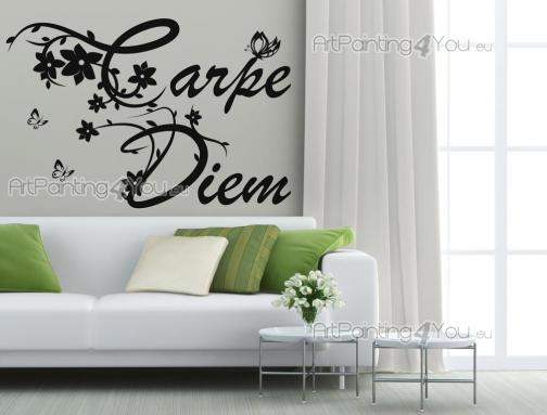 Carpe Diem - Wall stickers with decorative words and quotes for any room. The latin aphorism Carpe Diem by Horace advises you to seize the day, for you know not what the future has in store for you. The phrase has a floral motif and comes with decals of butterflies.