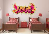 Graffiti Love - Graffiti-inspired wall stickers with quotes. If you are both an urban art lover and a true romantic, personalize your bedroom with a decal of the word LOVE with hearts, wings and the arrow of Cupid. All in bright yellow, red and pink!
