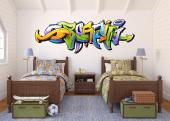 Wallstickers med ordet graffiti tegnet i graffiti stil for gutter soverom