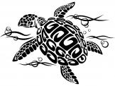 Animals Wall Stickers - Decoration with wall decals of a beautiful sea turtle swimming in the sea