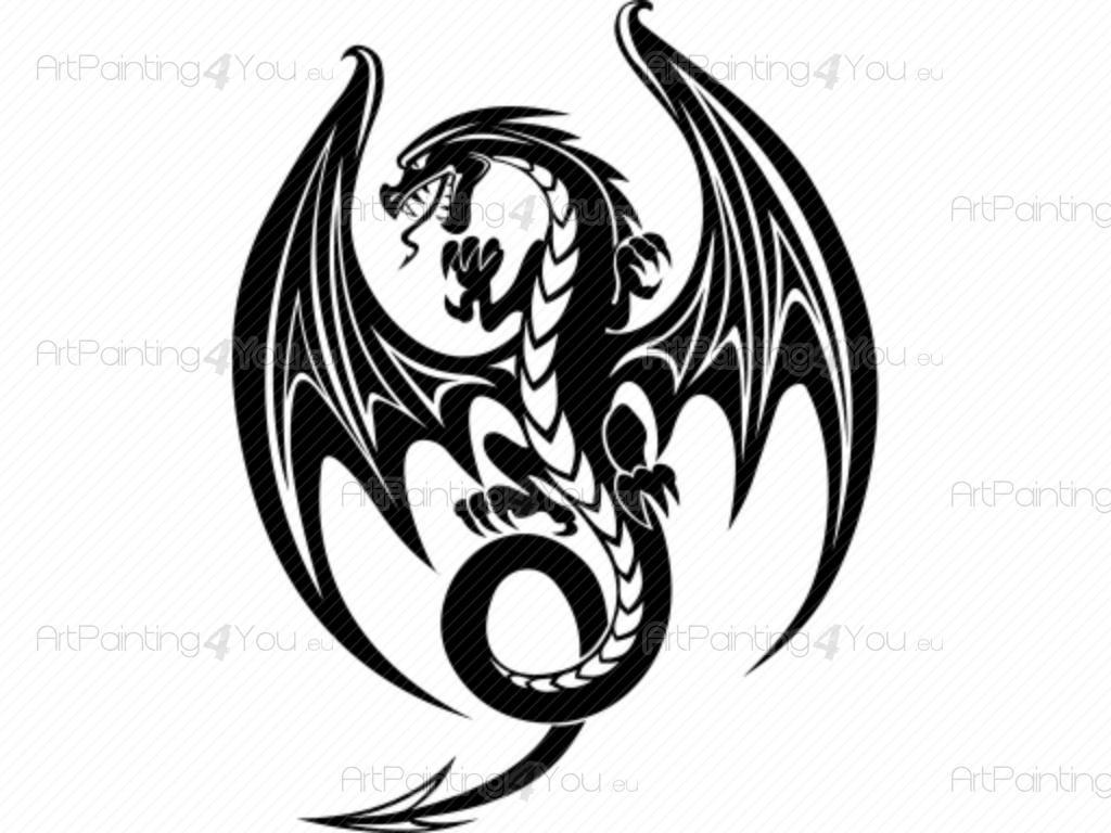 Entzückend Wandtattoo Drachen Sammlung Von - Tribal