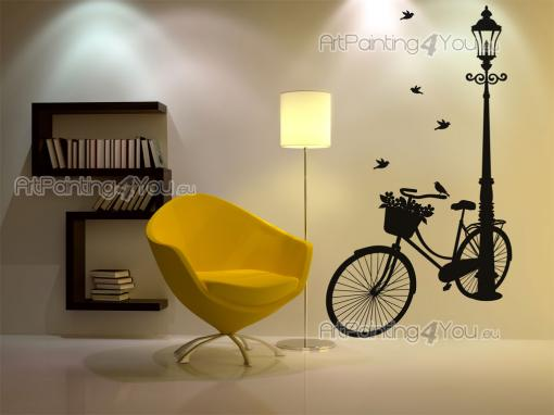 Cities & Travels Wall Stickers - Decorate your coffeehouse or living room with wall decals with exclusive silhouettes. Picture yourself as a young kid parking your bicycle next to a s...