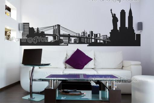 Cities & Travels Wall Stickers - Wall decals for bedroom with the Empire State Building, Brooklyn Bridge and the Statue of Liberty in New York...