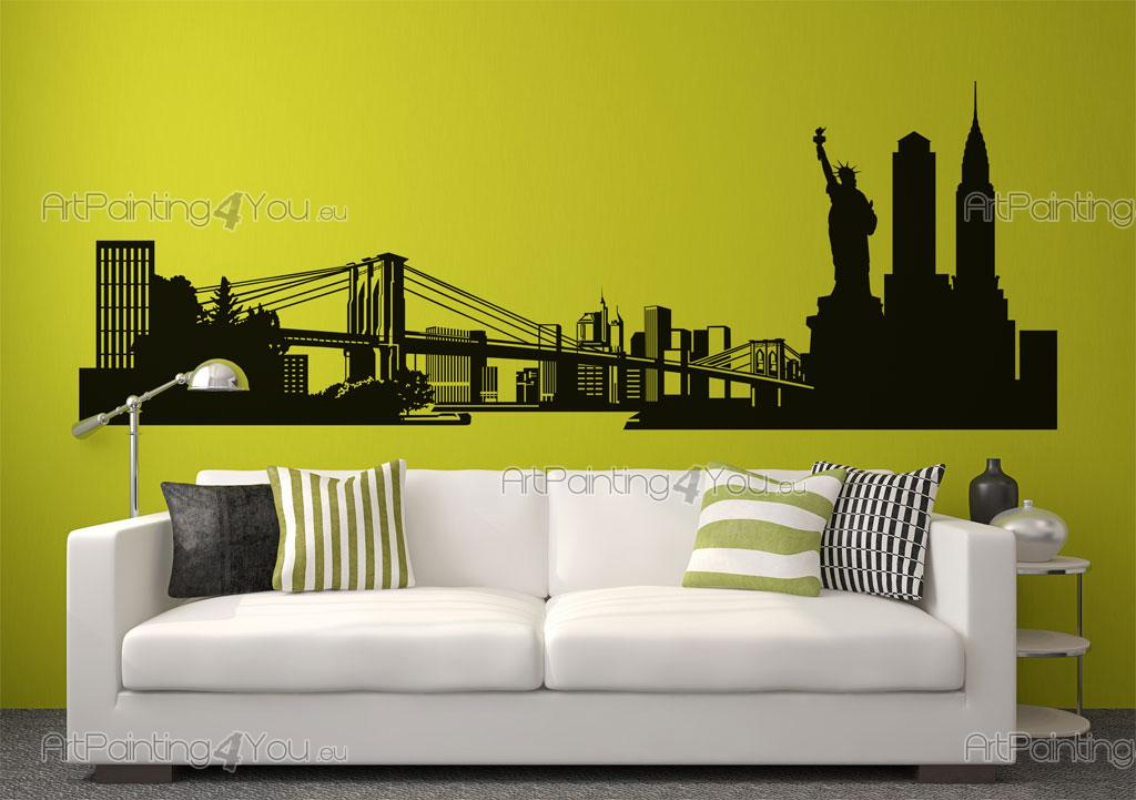 ... New York Skyline   Wall Decals For Bedroom With The Empire State  Building, Brooklyn Bridge ... Part 97