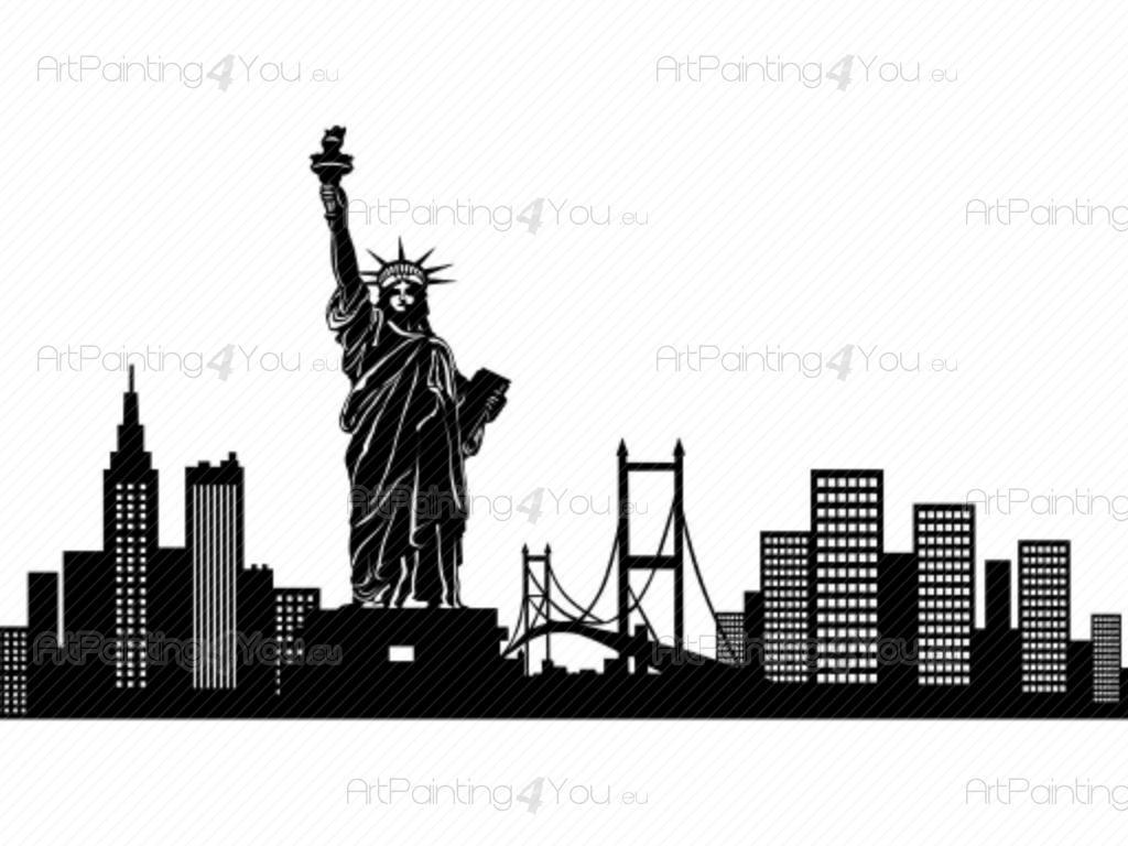 Vinilos decorativos nueva york silueta artpainting4you for Vinilos pared new york