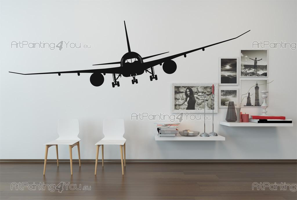 Airplane Silhouette - Wall stickers with a commercial airplane for transporting passenger