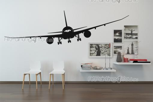 Cities & Travels Wall Stickers - Wall stickers for travelers. Decorate your private living room or a waiting room in your workplace with a decal of a commercial airplane about to arri...