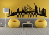 Wall decals of world skylines. Have a bit of cosmopolitan charm on a room wall thanks to our original sticker with several iconic silhouettes of New York City: the Statue of Liberty, the Brooklyn Bridge and the Empire State Building.