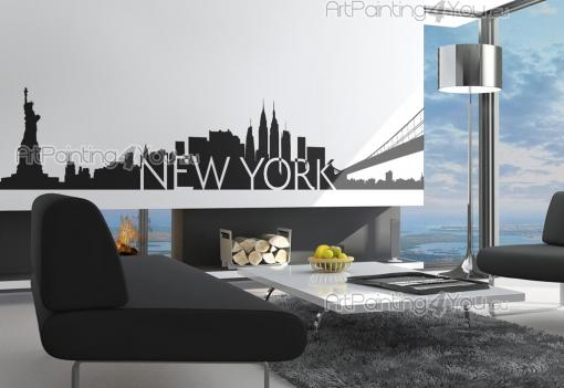 Cities & Travels Wall Stickers - Wall decals with a wonderful New York city skyline, famous skyscrapers of the city as the Empire State Building, the Brooklyn Bridge and the Statue of...